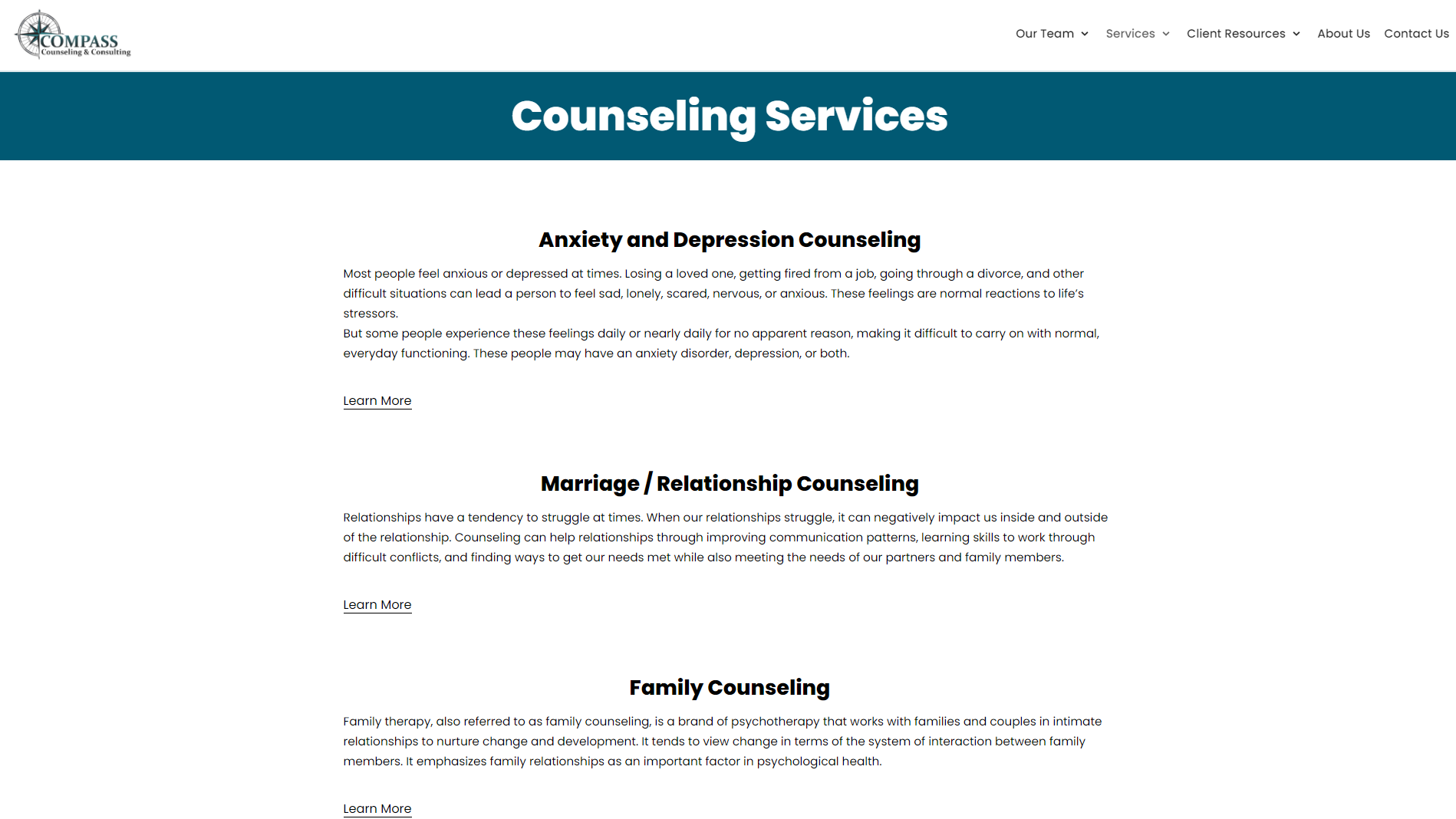 New Counseling Services Page Design for Compass Counseling and Consulting