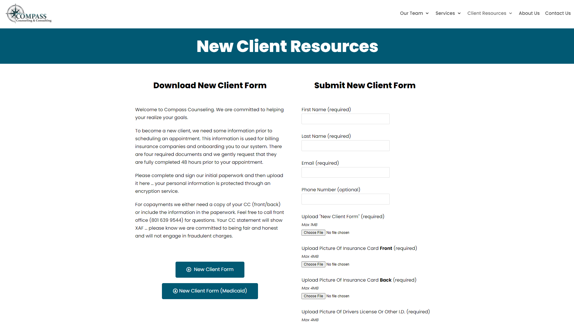 New Client Resources Page Design for Compass Counseling and Consulting