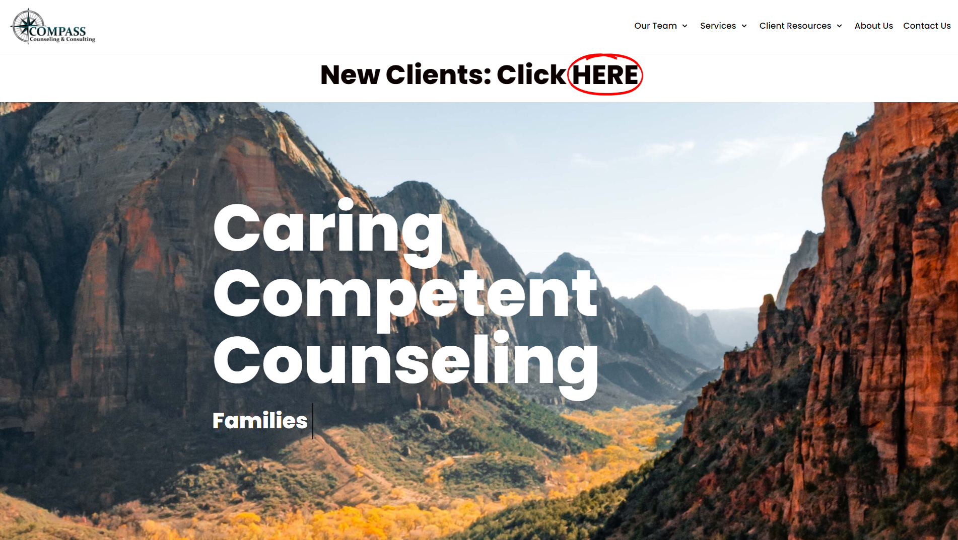 New Hero Section for homepage on Compass Counseling and Consulting