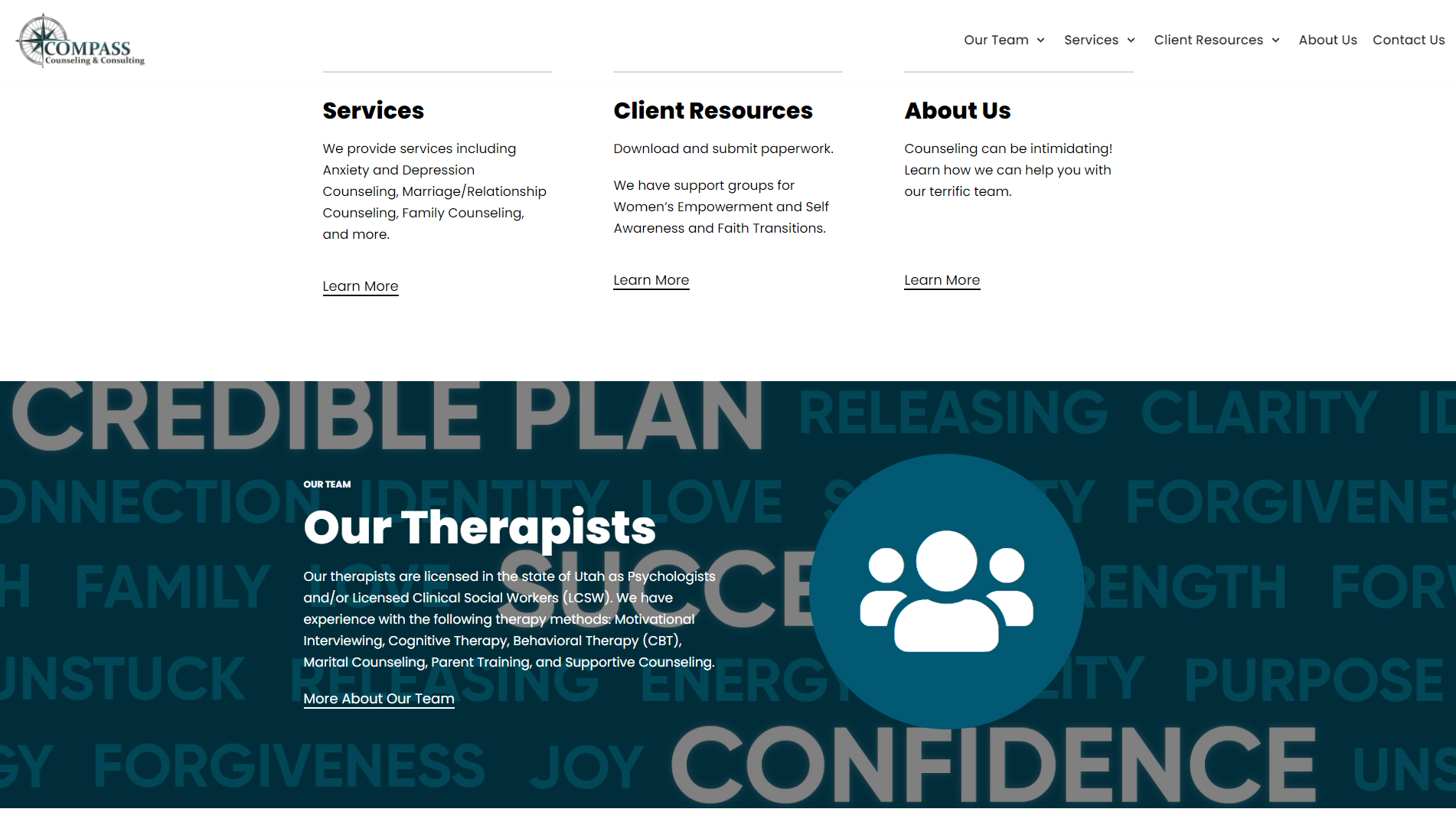 Bottom half of Compass Counseling and Consulting homepage