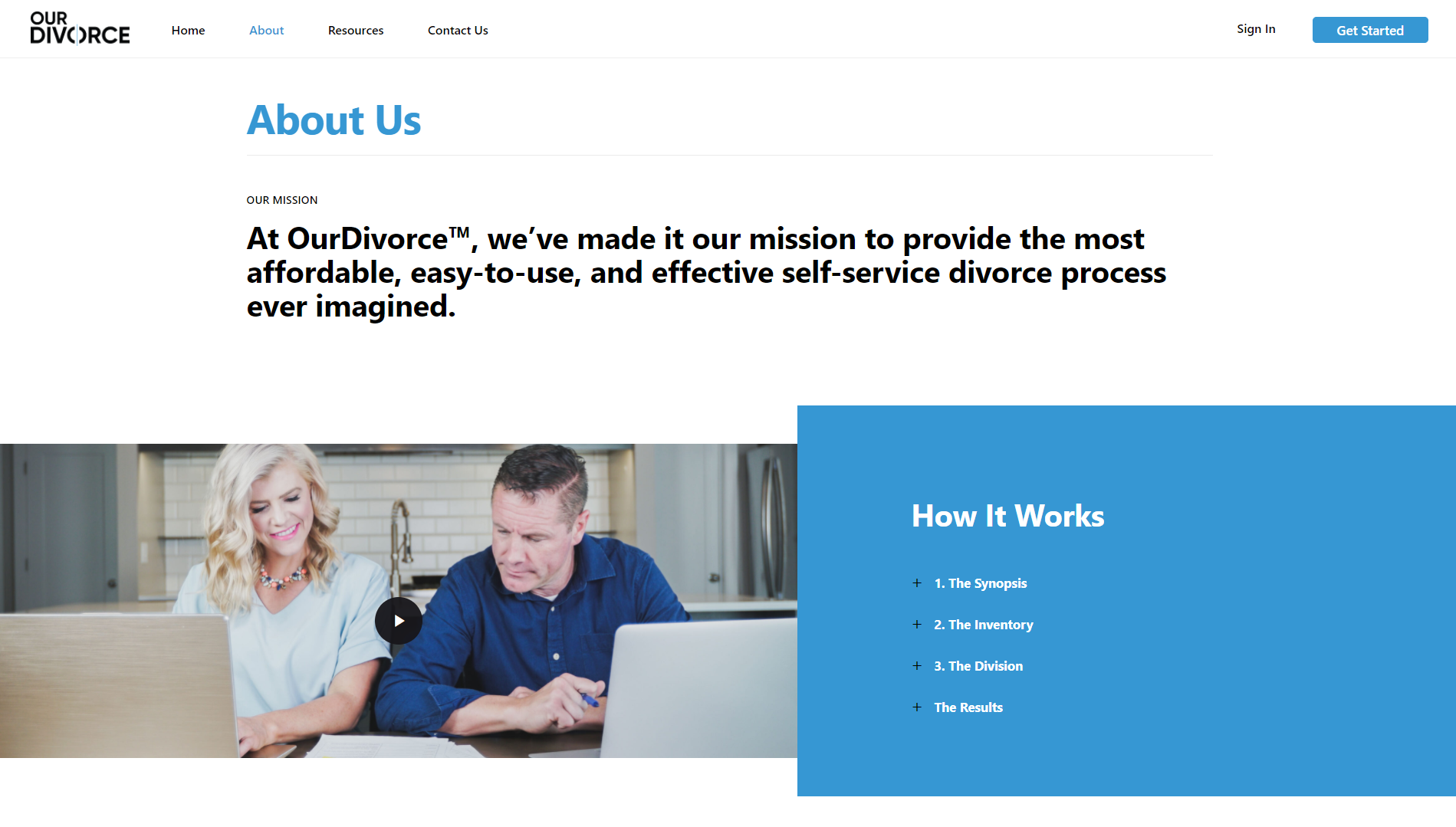 OurDivorce About Us Page design