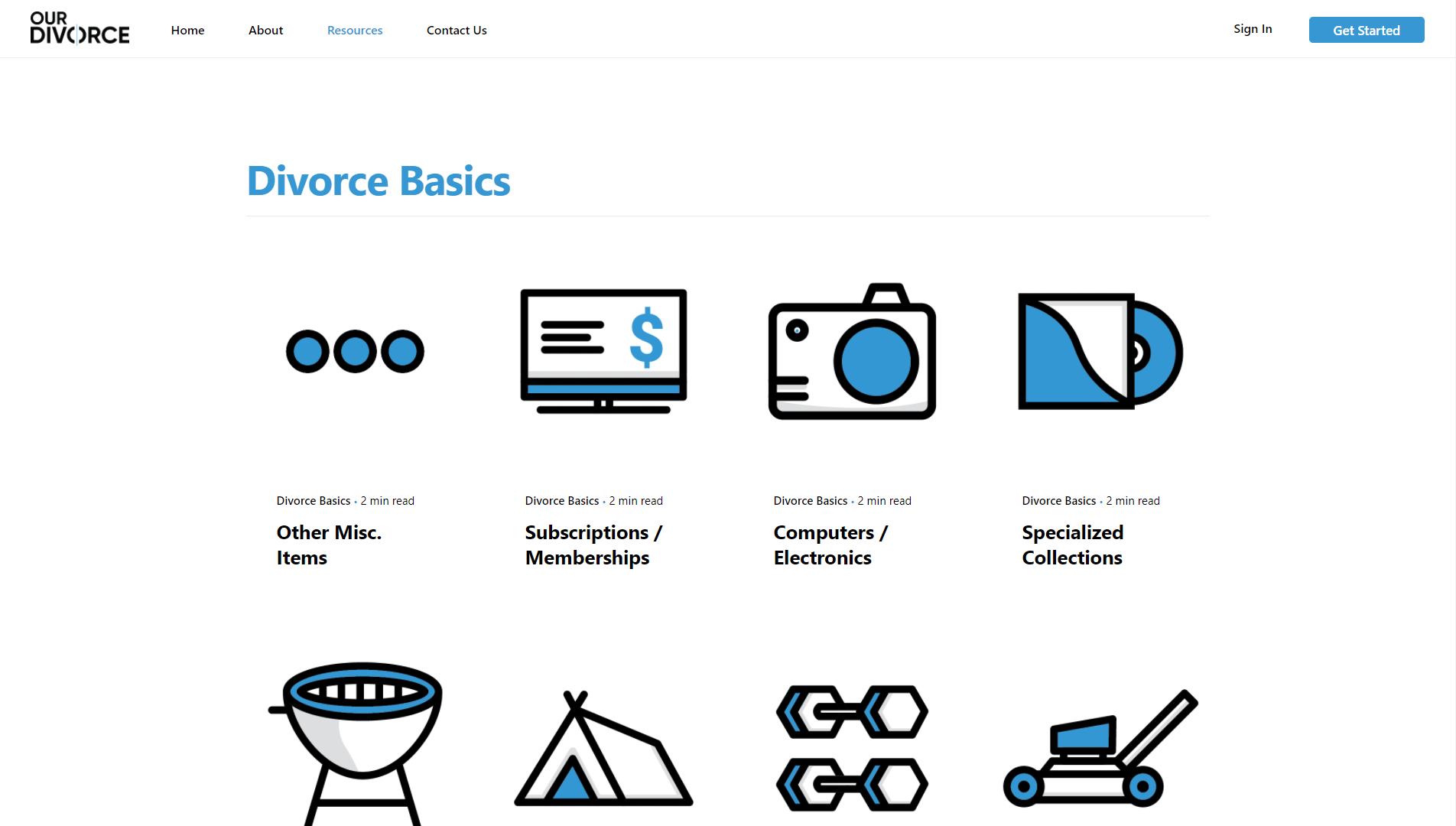 OurDivorce Resources Page Design